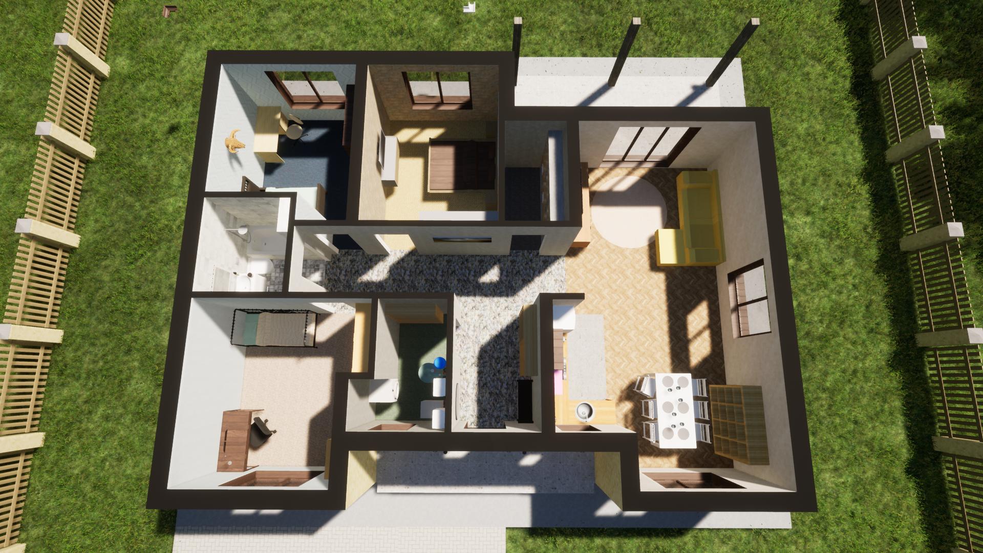 Классическая планировка. 3 комнаты. 115 м2. Мебель план