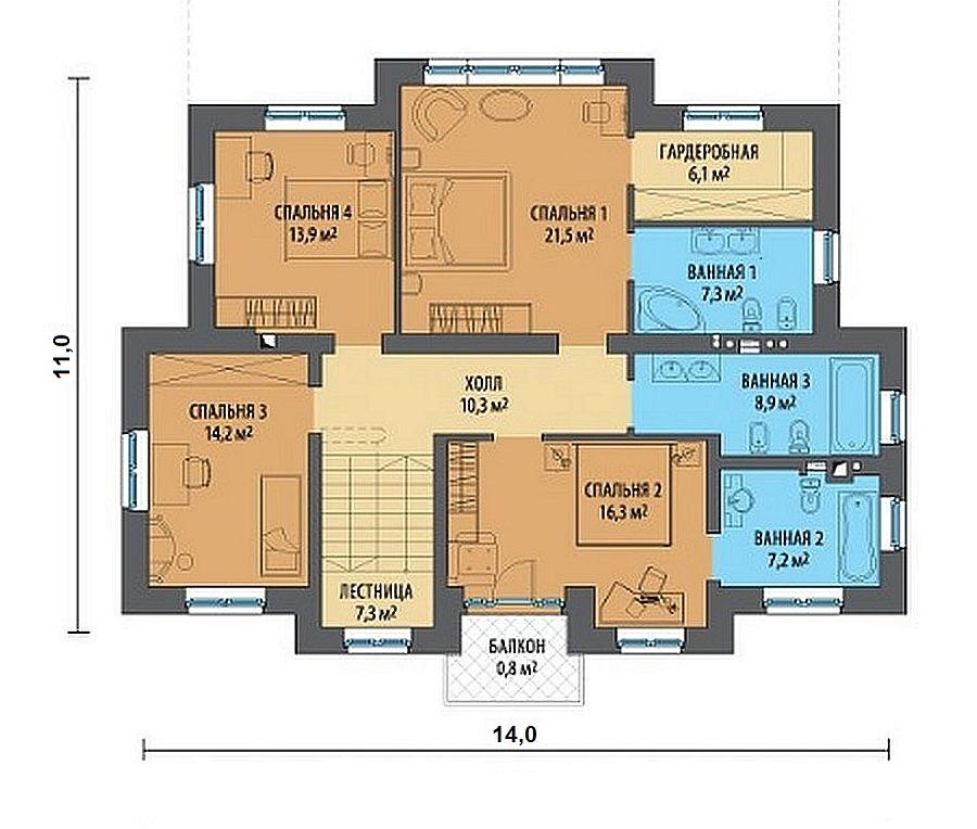 Проект дома 263 кв.м // Артикул Е-55 план