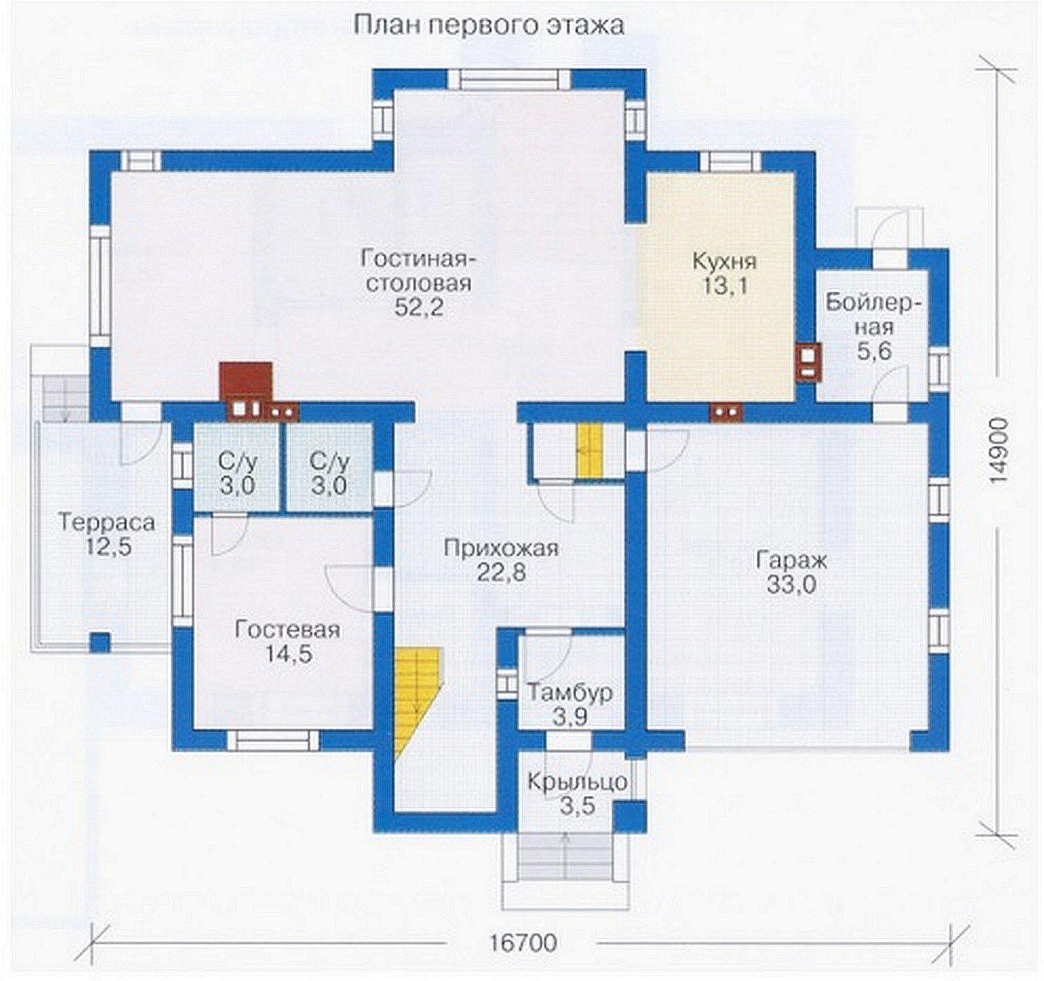 Проект коттеджа 230 кв.м // Артикул К-55 план