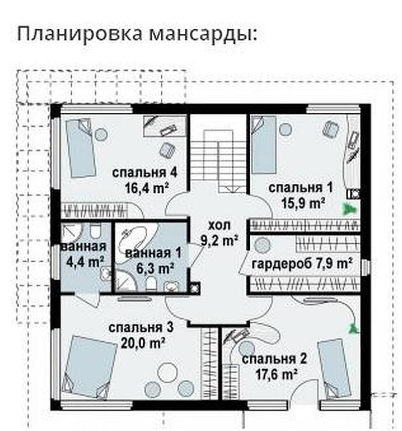 Проект дома 170 кв.м // Артикул Л-55 план