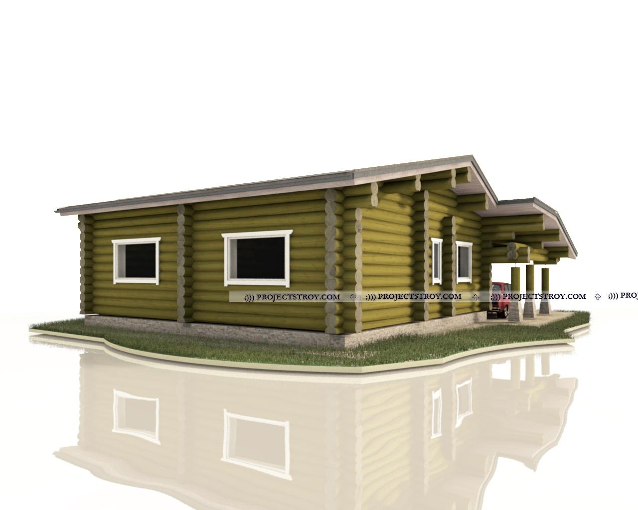 Загородный дом из рубленого бревна фасад