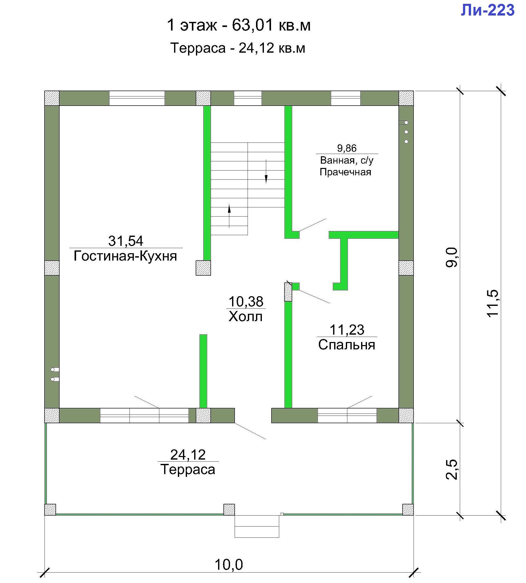 Проект дома 160 кв.м // Артикул Ли-223 план