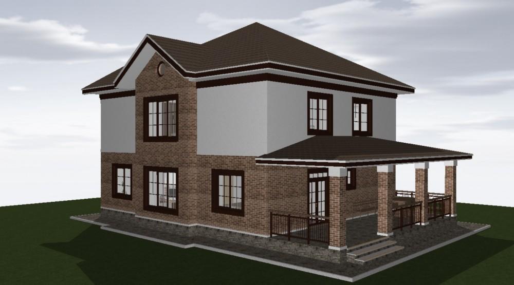 Готовый проект дома 200 кв.м // Артикул ВЧ-222 фасад