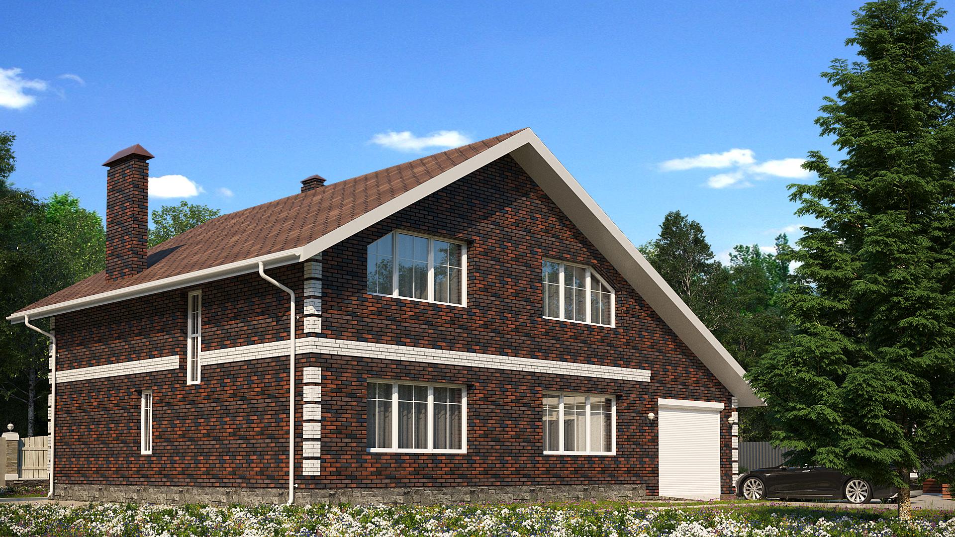 Готовый проект коттеджа 168 кв. м / Артикул АГ-227 фасад