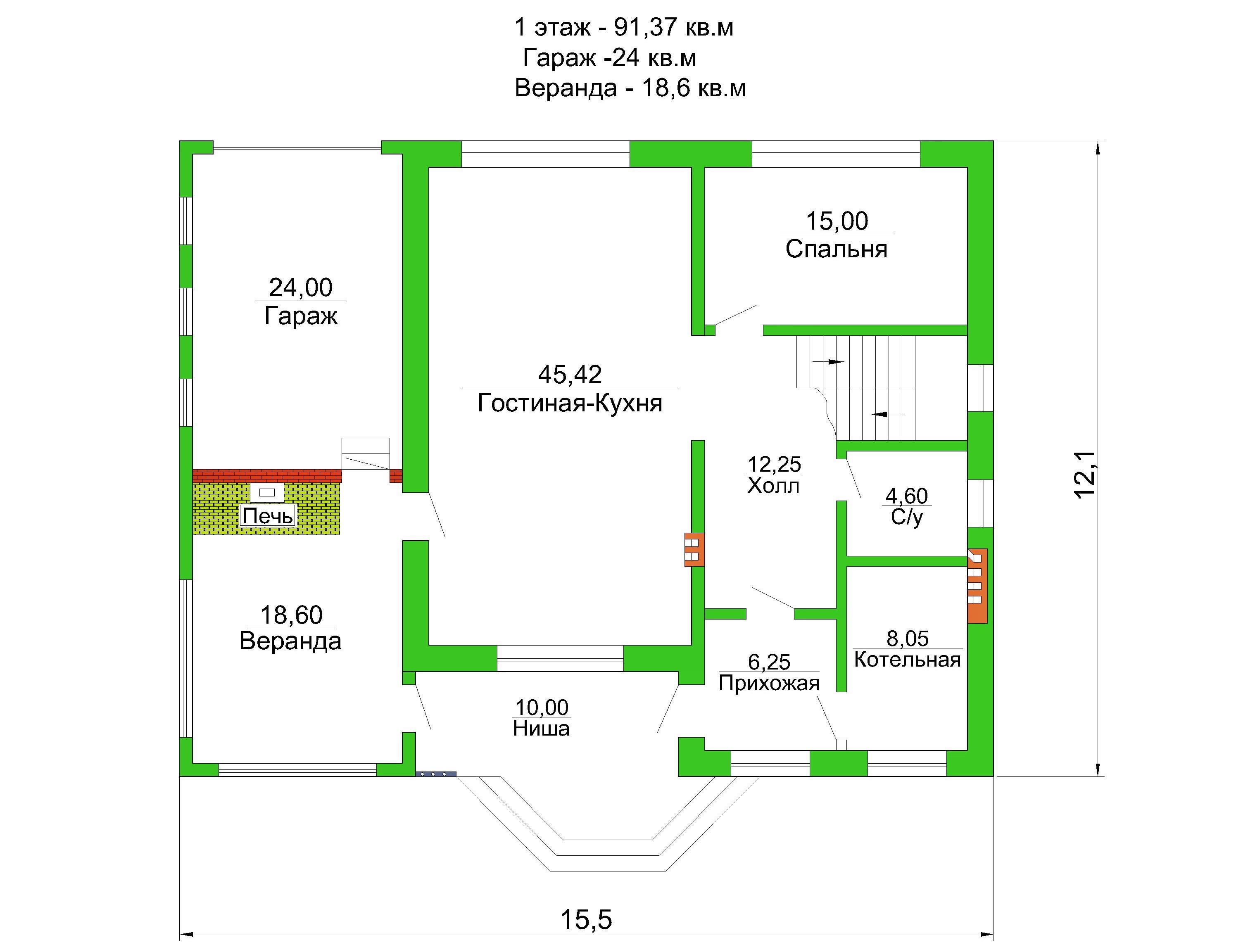 Готовый проект коттеджа 168 кв. м / Артикул АГ-227 план