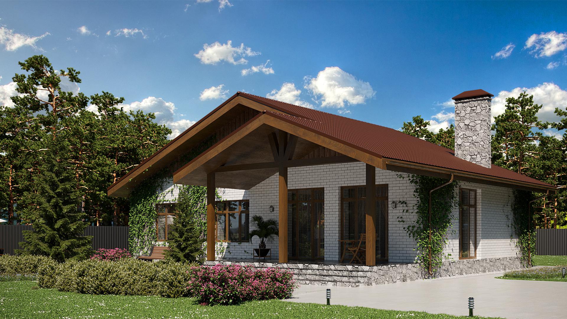 Готовый проект дома 115 кв.м // Артикул СТ-141 фасад