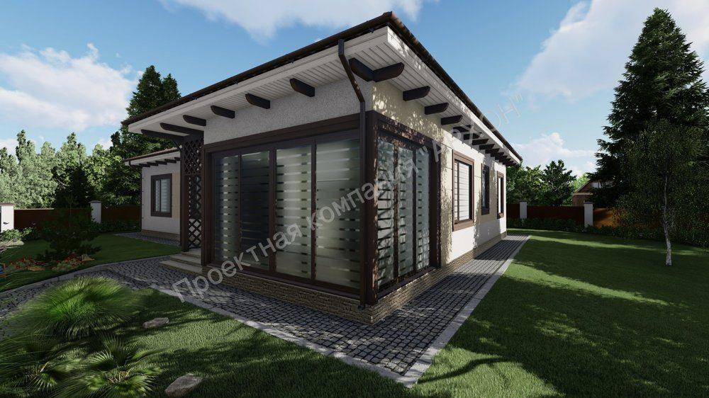 Современный просторный 1-этажный дом  фасад