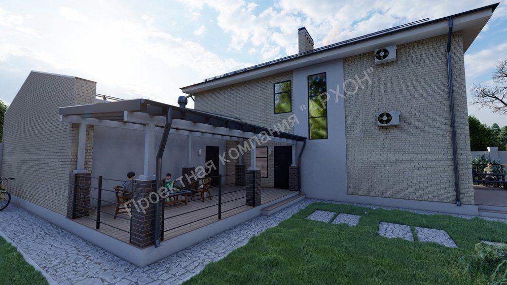 Просторный 2-этажный дом с террасой и гаражом фасад