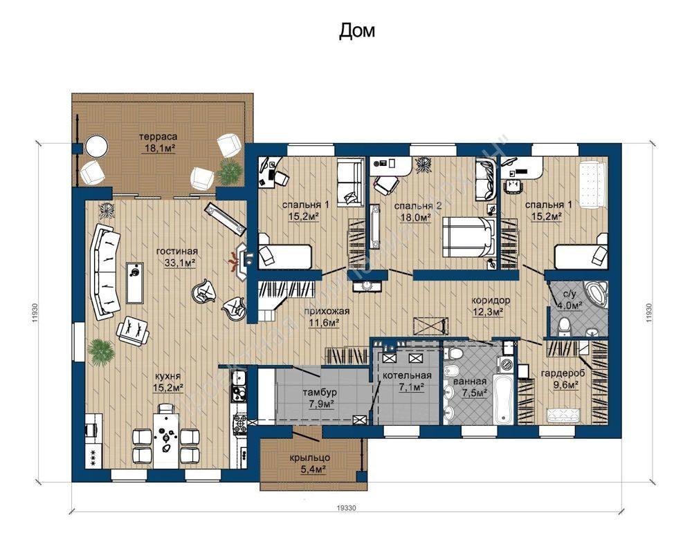 Комфортный 1 этажный дом в классическом стиле план