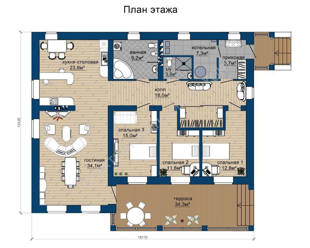 Просторный 1-этажный дом  план