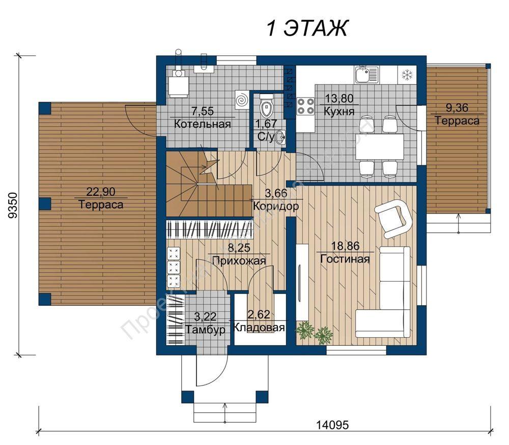 Современный  2-этажный загородный дом план