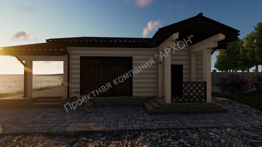 Современная баня с комнатой отдыха и террасой  фасад