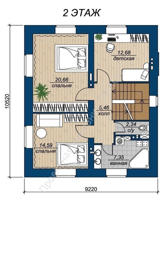 Современный 2-этажный дом с гаражом план