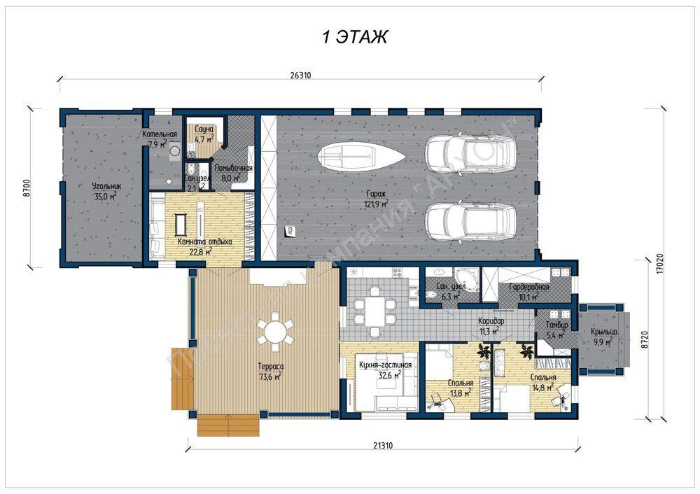 Загородный 1-этажный дом в итальянском стиле план