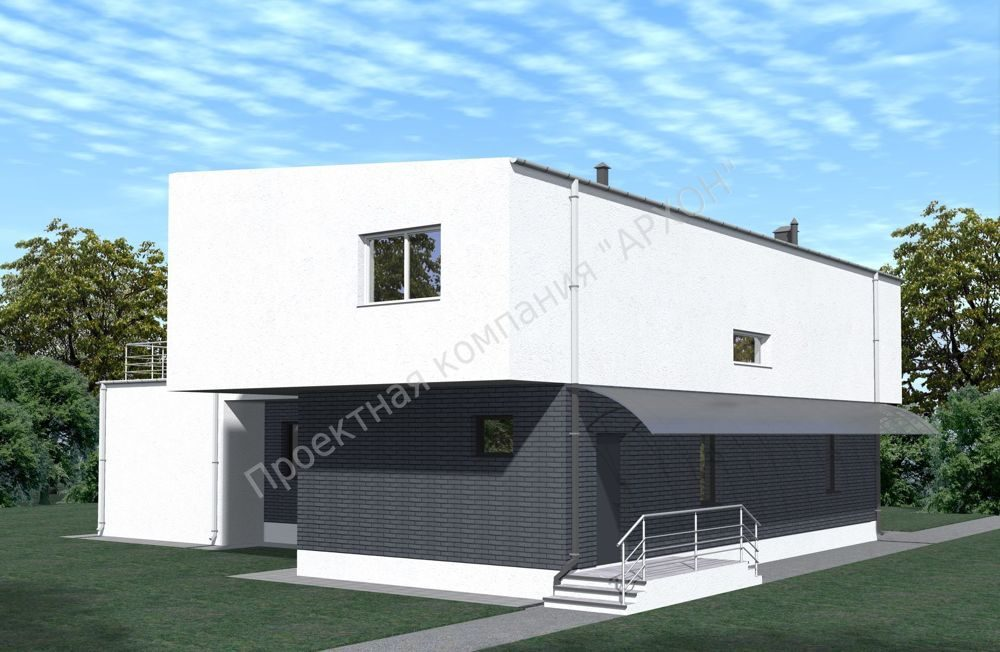 2-этажный дом в стиле минимализма с террасой  фасад