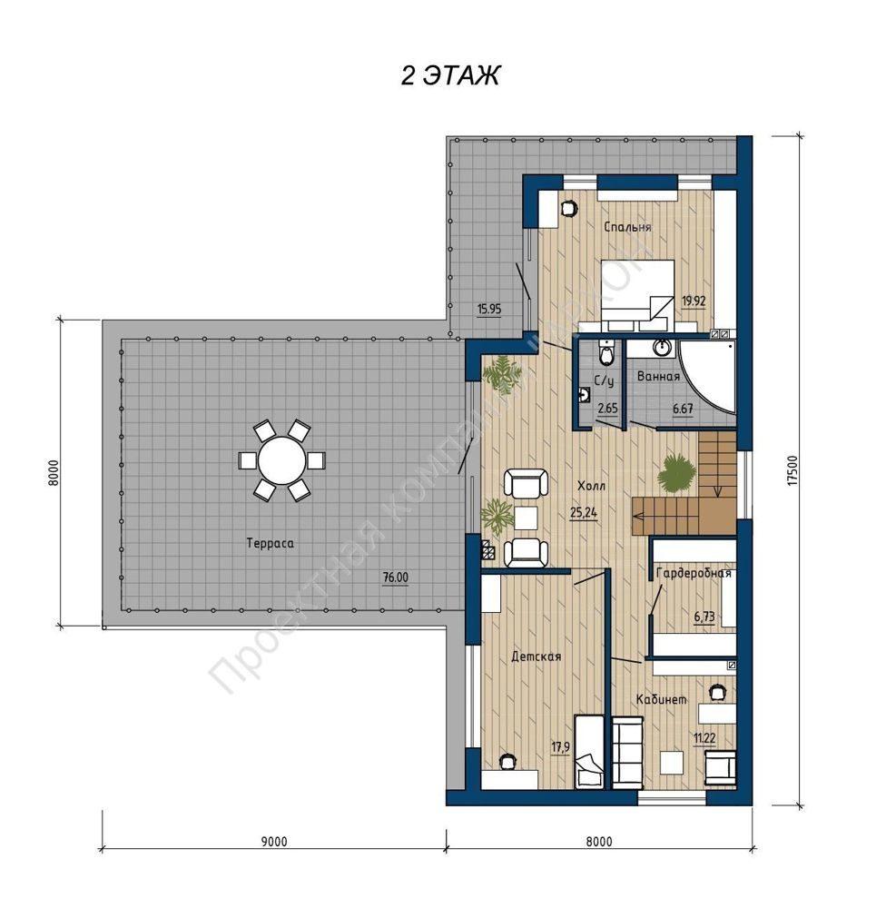 2-этажный дом в стиле минимализма с террасой  план