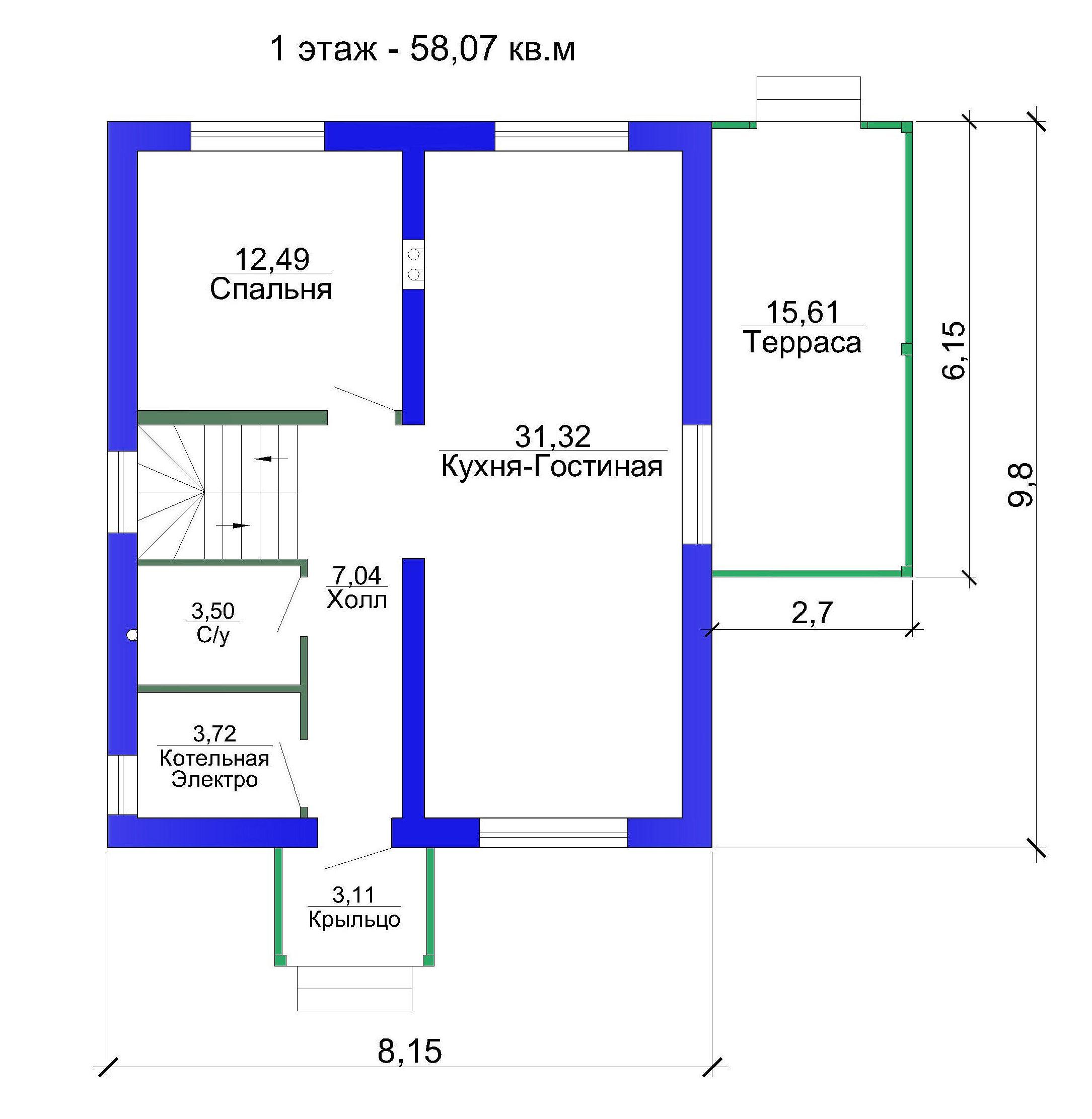 Готовый проект дома 116 кв.м // Артикул РА-236 план