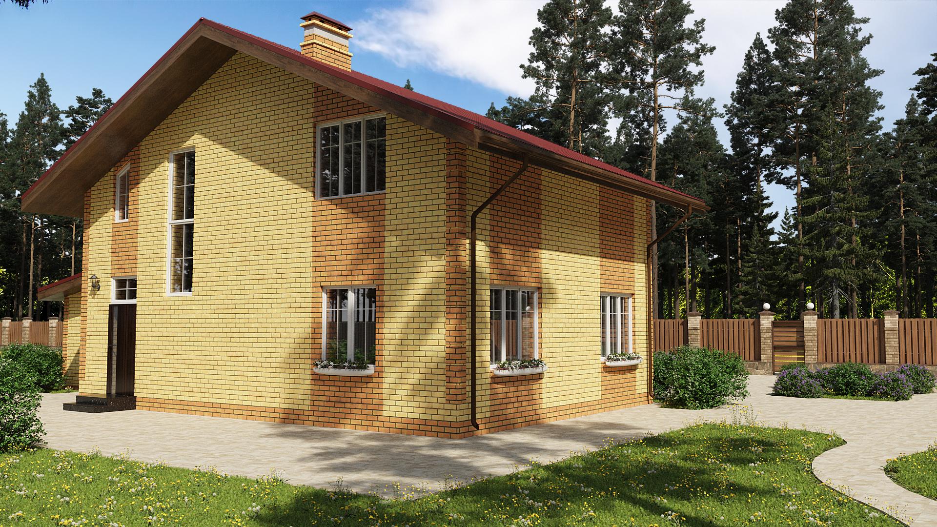 Готовый проект дома 111 кв.м // Артикул ПП-236 фасад