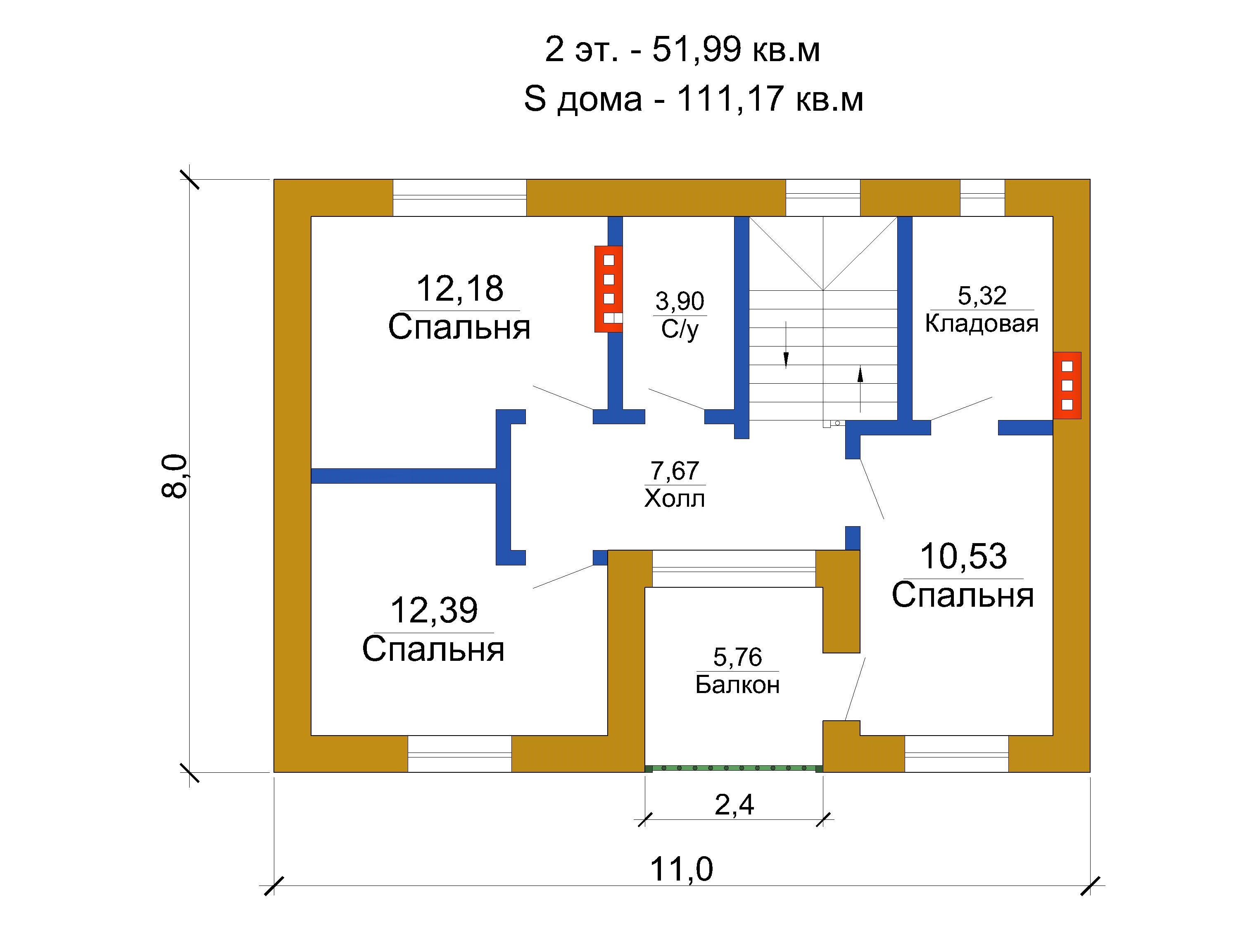 Готовый проект дома 111 кв.м // Артикул ПП-236 план