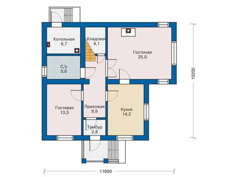 Проект бетонного дома 51-78 план