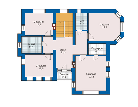Проект бетонного дома 51-97 план
