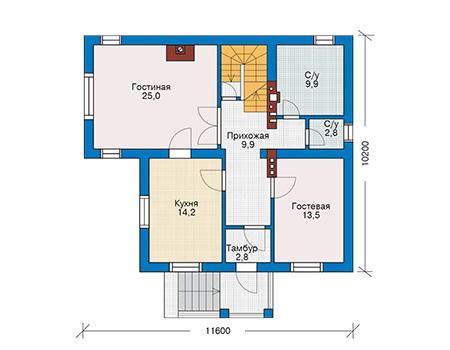 Проект бетонного дома 52-31 план