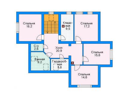 Проект бетонного дома 52-32 план