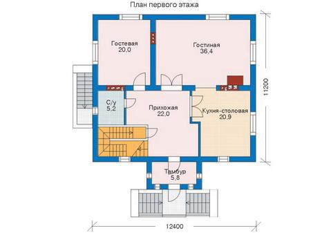 Проект бетонного дома 52-38 план