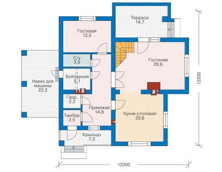 Проект бетонного дома 52-42 план