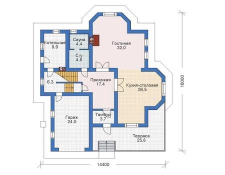 Проект бетонного дома 52-54 план