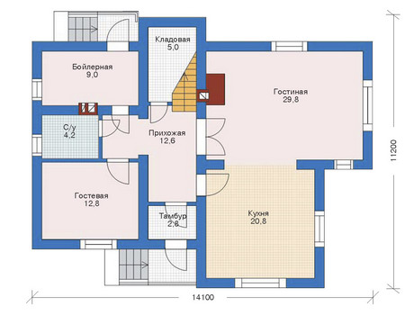 Проект бетонного дома 52-59 план