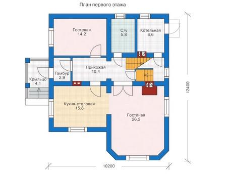 Проект бетонного дома 52-68 план