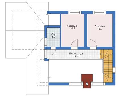 Проект бетонного дома 52-74 план