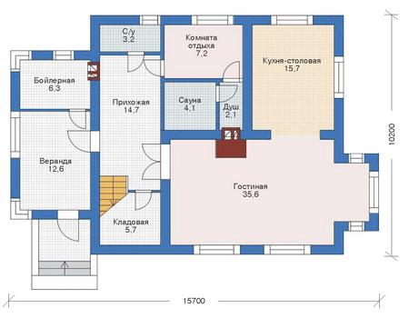 Проект бетонного дома 52-75 план