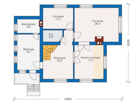 Проект бетонного дома 53-02 план
