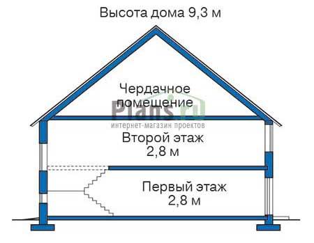 Проект бетонного дома 53-25 план