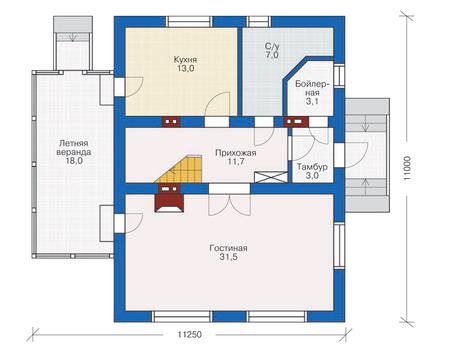 Проект бетонного дома 53-35 план