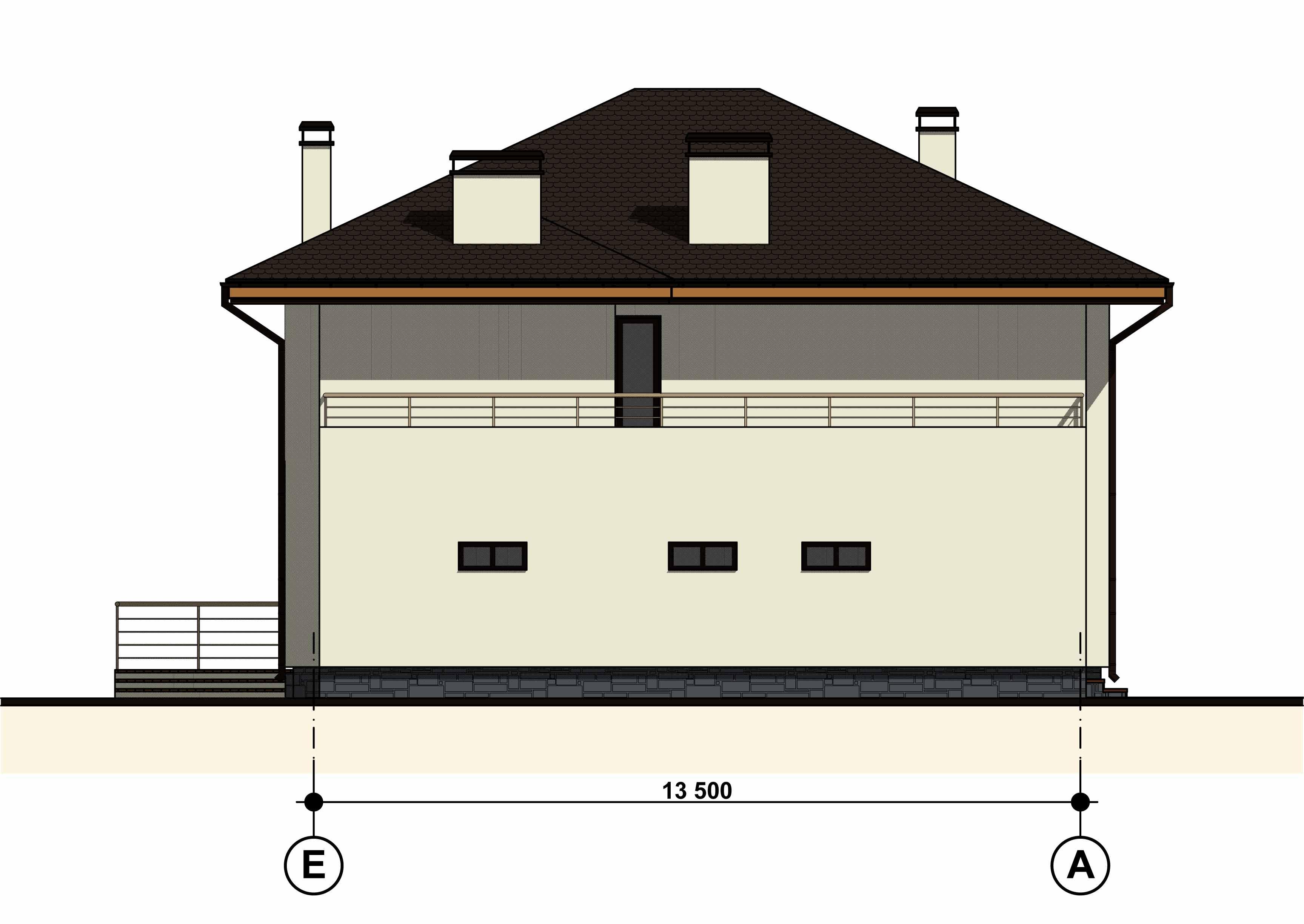 Двухэтажный жилой дом с гаражом  фасад