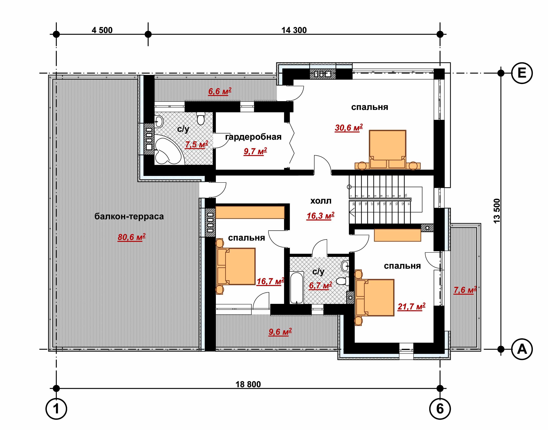 Двухэтажный жилой дом с гаражом  план