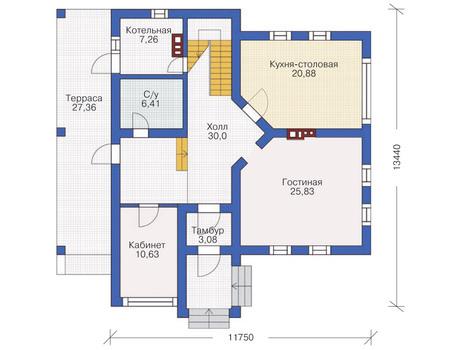 Проект бетонного дома 53-43 план
