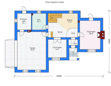 Проект бетонного дома 53-62 план
