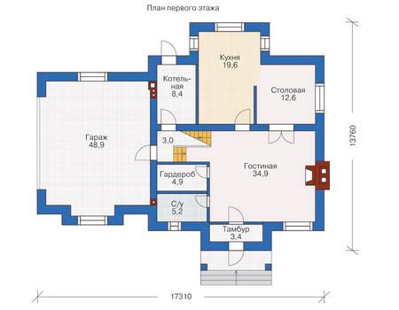 Проект бетонного дома 53-67 план