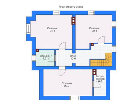 Проект бетонного дома 53-75 план