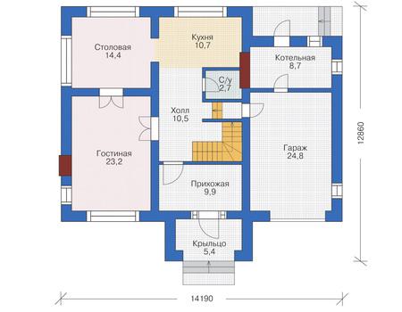 Проект бетонного дома 53-86 план