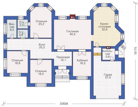 Проект бетонного дома 53-87 план