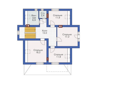 Проект бетонного дома 53-94 план