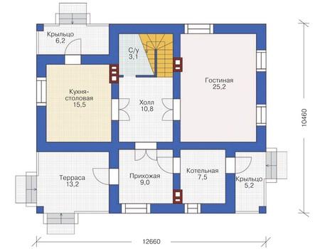 Проект бетонного дома 54-00 план