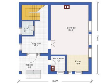 Проект бетонного дома 54-14 план