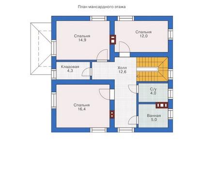 Проект бетонного дома 54-26 план