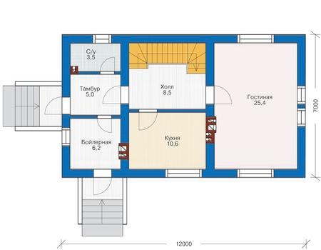 Проект бетонного дома 54-51 план